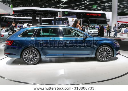 FRANKFURT - SEPT 16: Skoda Suberb Combi shown at the 66th IAA (Internationale Automobil Ausstellung) on September 16, 2015 in Frankfurt, Germany.