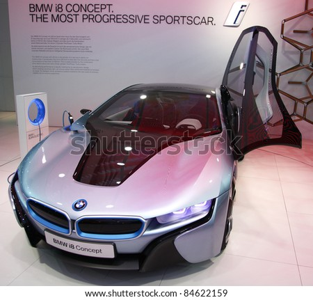 FRANKFURT - SEPT 13: The BMW i8 Concept Car presented at the 64th IAA (Internationale Automobil Ausstellung) on September 13, 2011 in Frankfurt, Germany