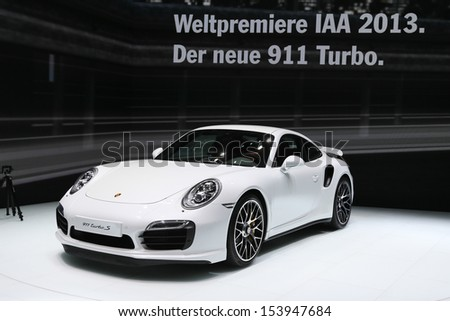 FRANKFURT - SEPT 10: World Premiere new Porsche 911 Turbo S shown at the 65th IAA (Internationale Automobil Ausstellung) on September 10, 2013 in Frankfurt, Germany. - stock photo