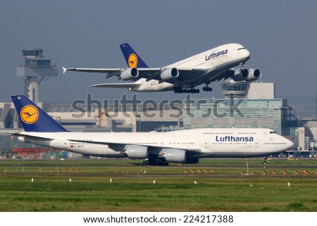 FRANKFURT - SEPTEMBER 17: Lufthansa aircraft taking off on September 17, 2014 in Frankfurt. Lufthansa is the German flag carrier and Europe's largest airline. Frankfurt Airport is its biggest hub. - stock photo