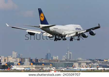 FRANKFURT - SEPTEMBER 17: Lufthansa Boeing 747-400 aircraft on approach on September 17, 2014 in Frankfurt. Lufthansa is the German flag carrier and Europe's largest airline.