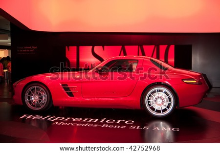 FRANKFURT - SEPTEMBER 20: Side view of the new Mercedes Benz SLS AMG sportcar at the 63rd IAA (Internationale Automobil Ausstellung) on September 20, 2009 in Frankfurt, Germany