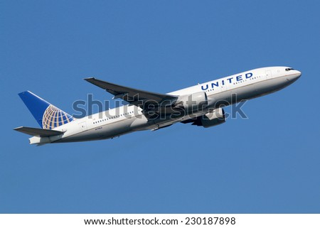 FRANKFURT - SEPTEMBER 17: United Airlines aircraft taking off on September 17, 2014 in Frankfurt. United Airlines is headquartered in Chicago, Illinois.