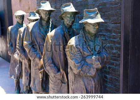 Franklin Delano Roosevelt Memorial in Washington Great Depression sculpture - stock photo