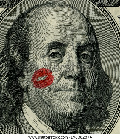 Franklin from 100 dollars banknote - stock photo
