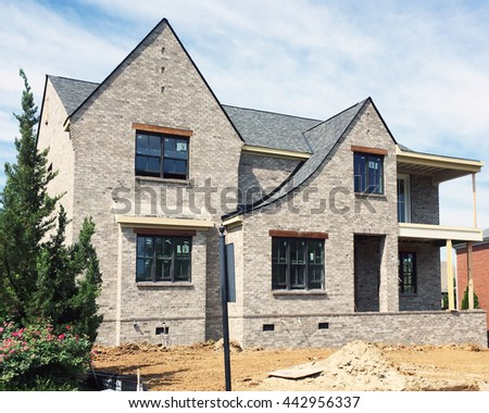 FRANKLIN, TN-JUNE 24, 2016:  Luxury home under construction in a Nashville area subdivision.