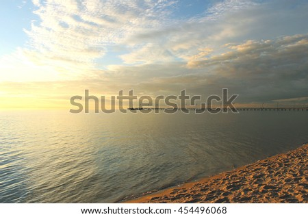 Frankston beach at sunset, Victoria, Australia - stock photo