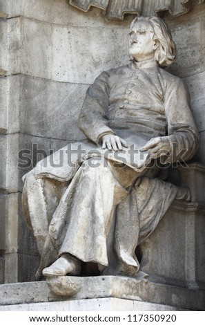 Franz List statue at Opera House in Budapest, Hungary - stock photo