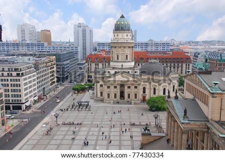 Französischer Dom is the colloquial naming for the French Church of Friedrichstadt , German: Französische  located in Berlin on the Gendarmenmarkt across from the Deutscher Dom. - stock photo