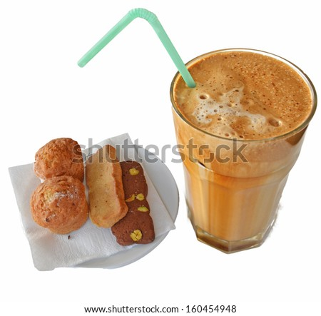 Frappe coffee served usually in Greece  - stock photo