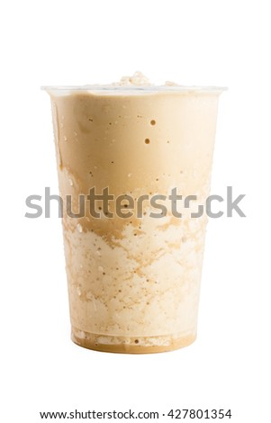 Frappuccino coffee in takeaway cup isolated on white background - stock photo