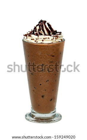 Frappuccino in tall glass on white background