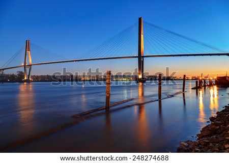 Fraser River at blue hour - stock photo