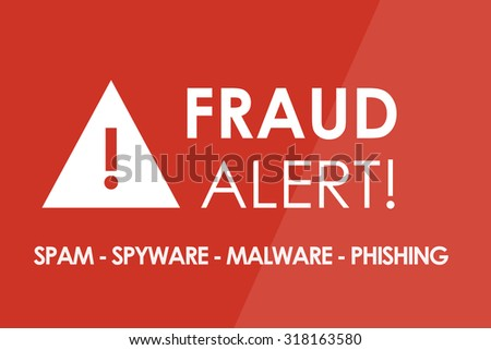 FRAUD Alert concept - white letters and triangle with exclamation mark - stock photo