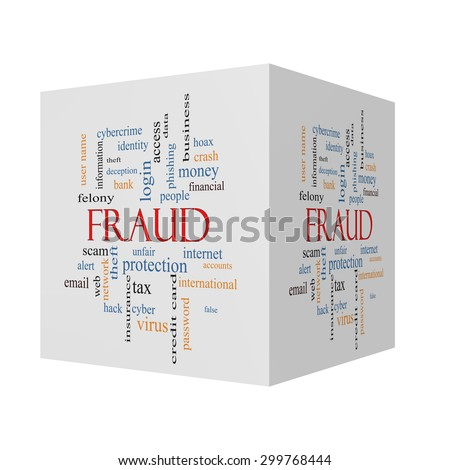 Fraud 3D cube Word Cloud Concept with great terms such as alert, identity, theft and more. - stock photo