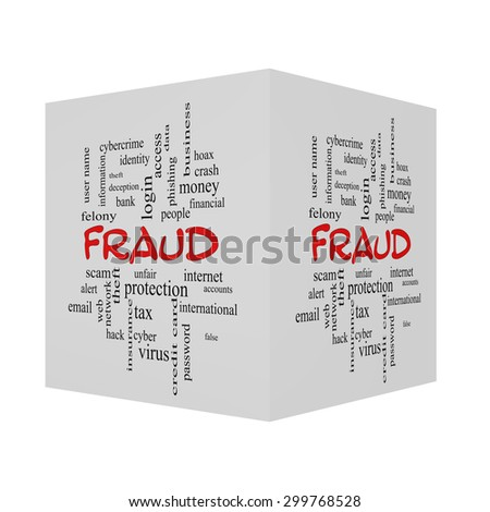 Fraud 3D Word Cloud Concept in red caps with great terms such as alert, identity, theft and more. - stock photo