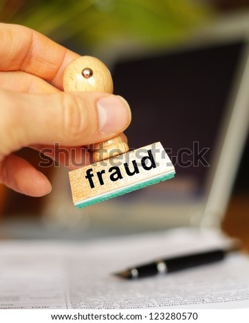 fraud stamp showing crime concept with copyspace - stock photo