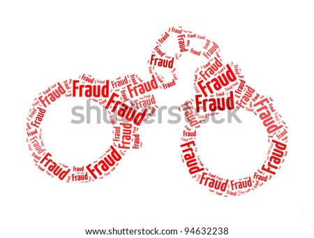 fraud text on handcuff graphic and arrangement concept - stock photo