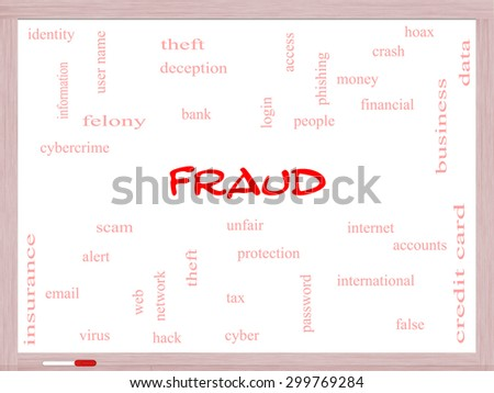 Fraud Word Cloud Concept on a whiteboard with great terms such as alert, identity, theft and more. - stock photo