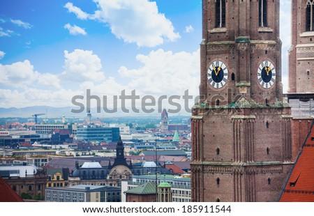 Frauenkirche clock in Munich, Bavaria, Germany - stock photo