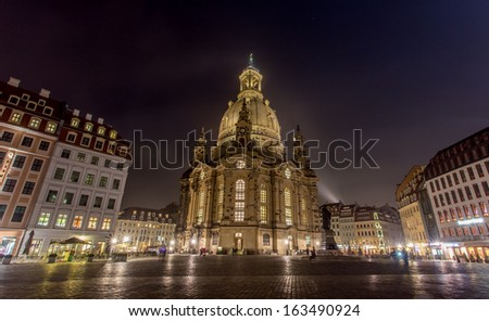 Frauenkirche in Dresden Germany at night - stock photo