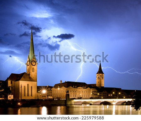 Fraumunster - Zurich with lightning - stock photo