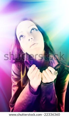 Freak disco. Young woman portrait. - stock photo