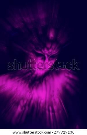 Freak girl in ultraviolet costume - stock photo