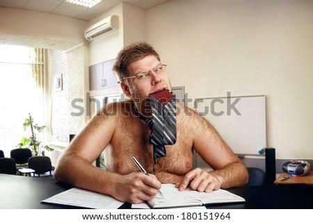 Freak naked businessman - stock photo