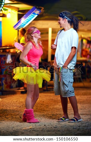 freak people on music festival. youth culture - stock photo