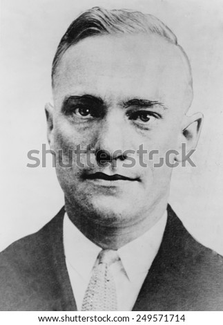Fred 'The Brain' Goetz, in 1934 police mugshot. Goetz was a college graduate in engineering and a Lieutenant in U. S. Army. By 1925 he was a fugitive and lived as a criminal until his murder in 1934. - stock photo