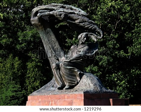 Frederic Chopin Monument in Warsaw, Poland. Situated in the Lazienki park complex. Unveiled in 1926, destroyed during WWII, reconstructed in 1958. - stock photo