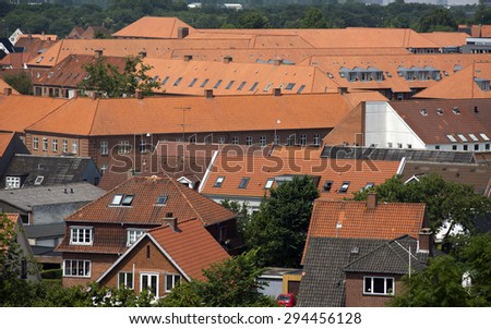 Fredericia City, Denmark, Scandinavia. High up view a beautiful hot summer day. - stock photo