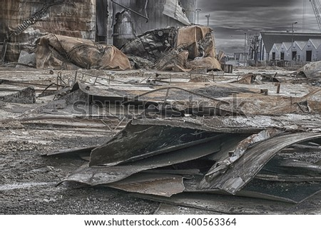 FREDERICIA, DENMARK FEBRUARY 13 2016: Part of harbor after a fire in a tank with palm oil February 3. and 4. 2016,  Fredericia, Denmark. - stock photo