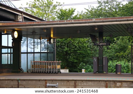 FREDERICIA, DENMARK - JULY 29, 2012: Platforms of Railway Station in Fredericia. Fredericia city located in the eastern part of the Jutland peninsula in Denmark - stock photo