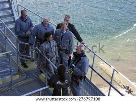 FREDERICIA, DENMARK - MAY 10, 2015: Bridgewalking official opening. Crown Princess Mary, Knud Jeppesen, Tanja Doky, Steen Dahlstroem, Jacob Bjerregaard and  minister Magnus Heunicke on the bridge. - stock photo