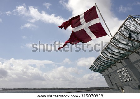 FREDERICIA, DENMARK - SEPTEMBER, 5: Danish warship, HDMS Iver Huitfeldt (F361) adopted by the municipality of Fredericia, 5th.September 2015.  - stock photo