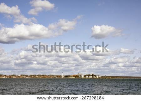 Fredericia Skyline - View from Strib lighthouse, Denmark. - stock photo