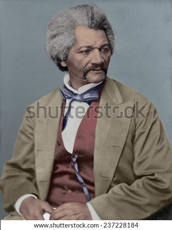 Frederick Douglass 18 18- 1895 escaped slave and abolitionist defied stereotypes about African Americans in the decades prior to the US Civil War. - stock photo