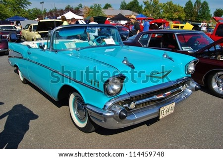 FREDERICK, MD- SEPTEMBER 16: 1957 Chevrolet Bel Air Convertible on Sept. 16, 2012 in Frederick , MD USA. Alzheimer's Association Benefit Car Show at Motor Vehicle Administration in Maryland. - stock photo