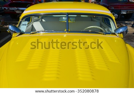 FREDERICK, MD- SEPTEMBER 16: 1951 Chevy Fleetline at a Car Show on September 16, 2015 in Frederick , MD USA. Alzheimer's Association Benefit Car Show at Motor Vehicle Administration in Maryland. - stock photo
