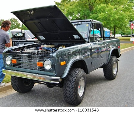 FREDERICK, MD- SEPTEMBER 16: 1978 Ford Bronco Truck on September 16, 2012 in Frederick , MD USA. Alzheimer's Association Benefit Car Show at Motor Vehicle Administration in Maryland. - stock photo