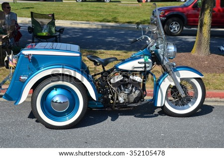 FREDERICK, MD- SEPTEMBER 16: Vintage Motorcycles at a Car Show on Sept. 16, 2015 in Frederick , MD USA. Alzheimer's Association Benefit Car Show at Motor Vehicle Administration in Maryland