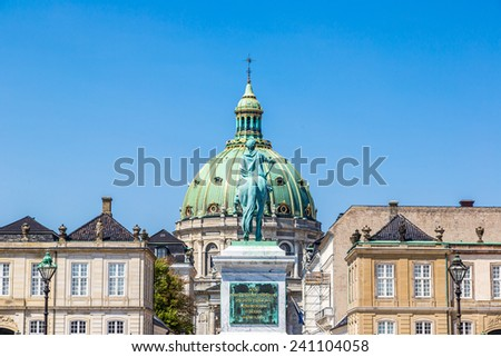 Frederik's Church, popularly known as The Marble Church  in Copenhagen, Denmark - stock photo