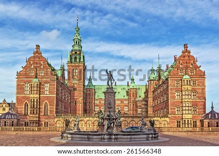 Frederiksborg Palace is a palace in Hillerod, Denmark. It was built as a royal residence for King Christian IV and is now a museum of national history. - stock photo