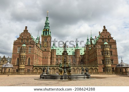 Frederiksborg slot old residence of danish kings in Hilleroed, Denmark - stock photo