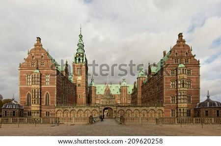 Frederiksborg slot old residence of danish kings in Hilleroed, Denmark - stock photo
