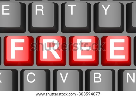 Free button on modern computer keyboard image with hi-res rendered artwork that could be used for any graphic design.
