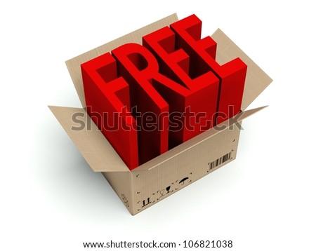 Free cardboard box isolated on white background - stock photo