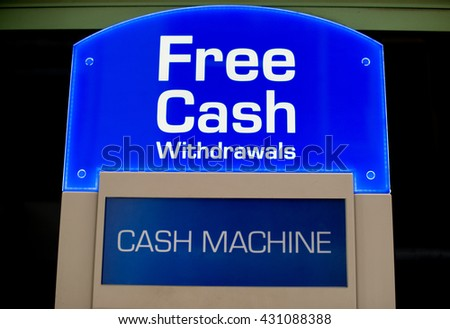 Free Cash Withdrawals Sign - stock photo